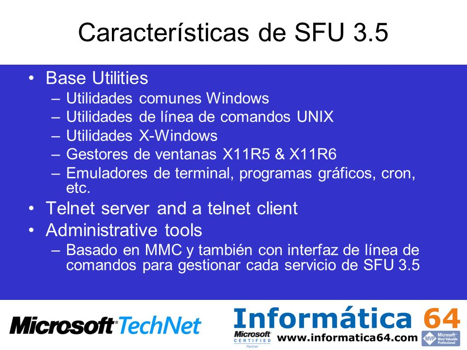 Características de SFU 3.5