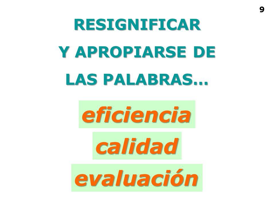 eficiencia calidad evaluación RESIGNIFICAR Y APROPIARSE DE