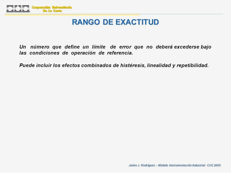 RANGO DE EXACTITUD Un número que define un límite de error que no deberá excederse bajo las condiciones de operación de referencia.
