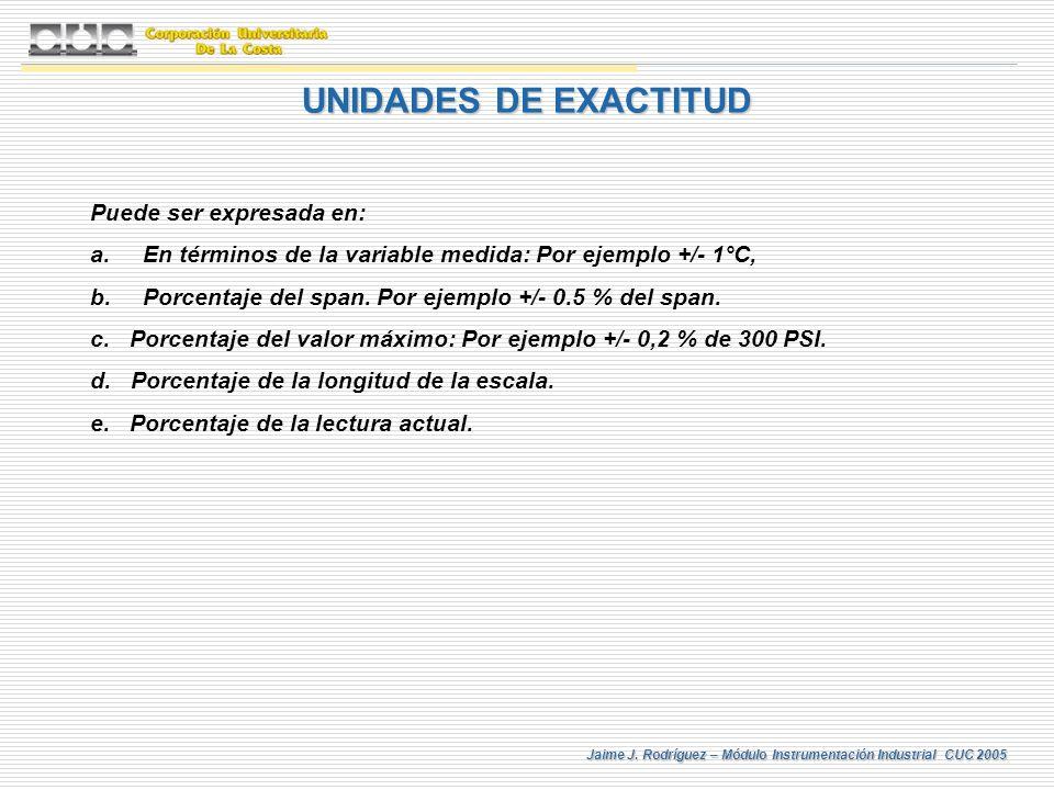 UNIDADES DE EXACTITUD Puede ser expresada en: