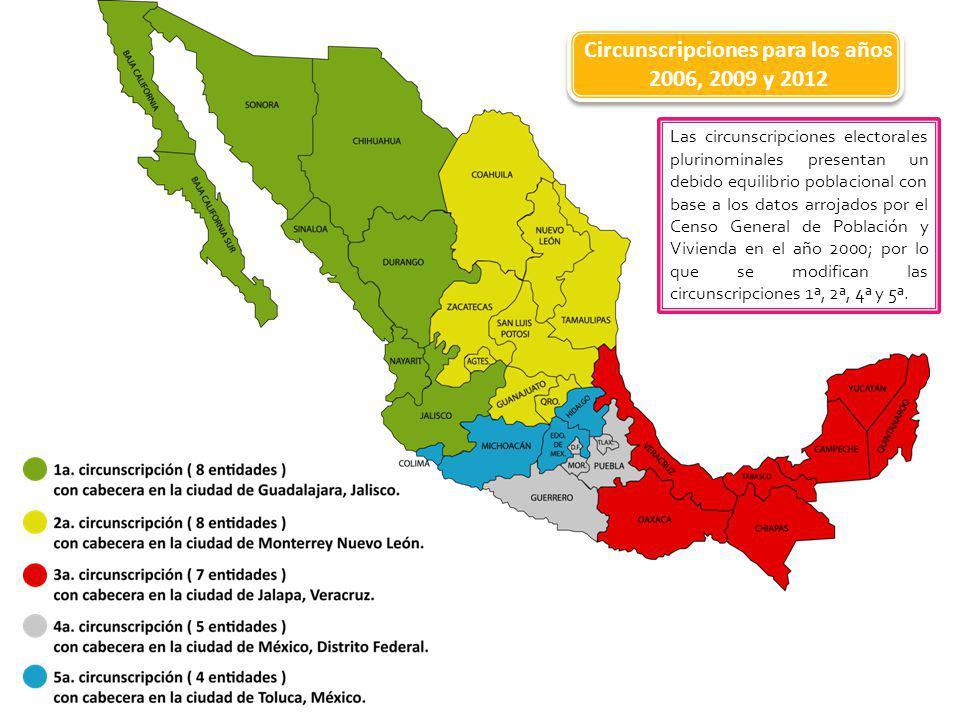 Circunscripciones para los años 2006, 2009 y 2012