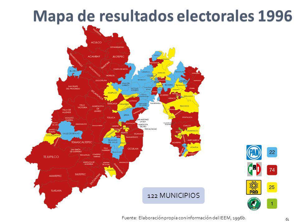 Mapa de resultados electorales 1996