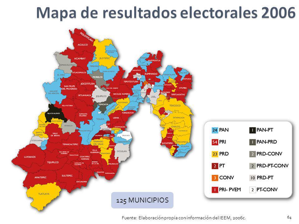 Mapa de resultados electorales 2006