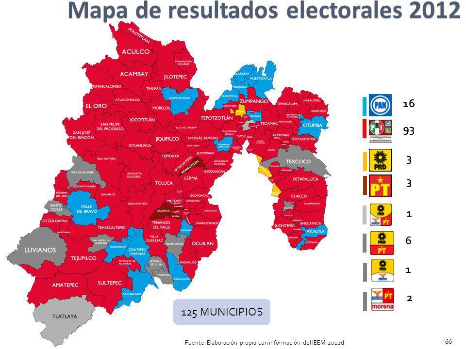 Mapa de resultados electorales 2012