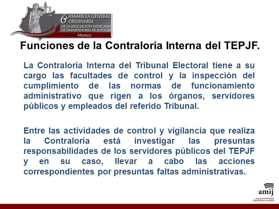 Funciones de la Contraloria Interna del TEPJF.