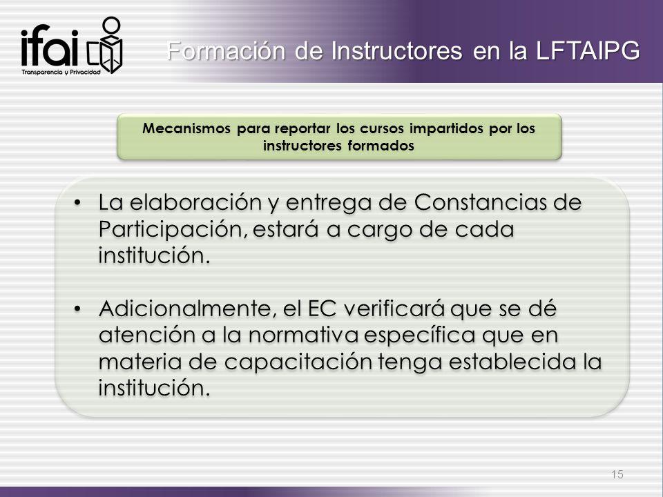 Formación de Instructores en la LFTAIPG
