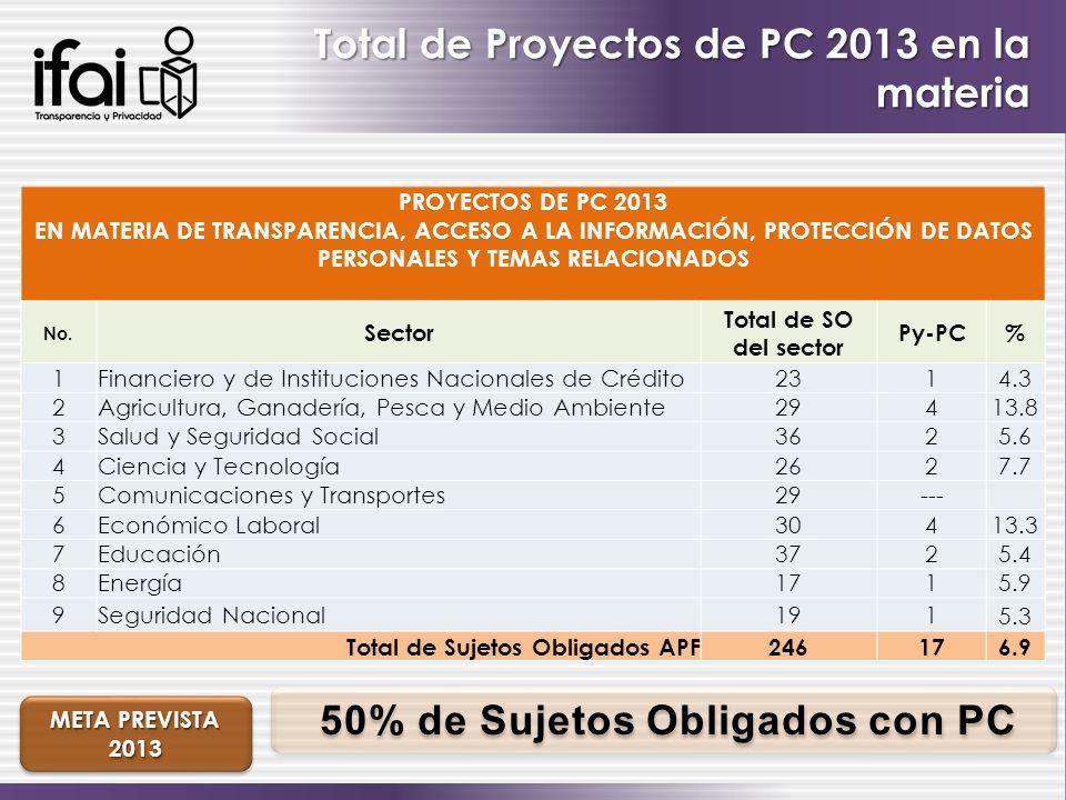 Total de Proyectos de PC 2013 en la materia