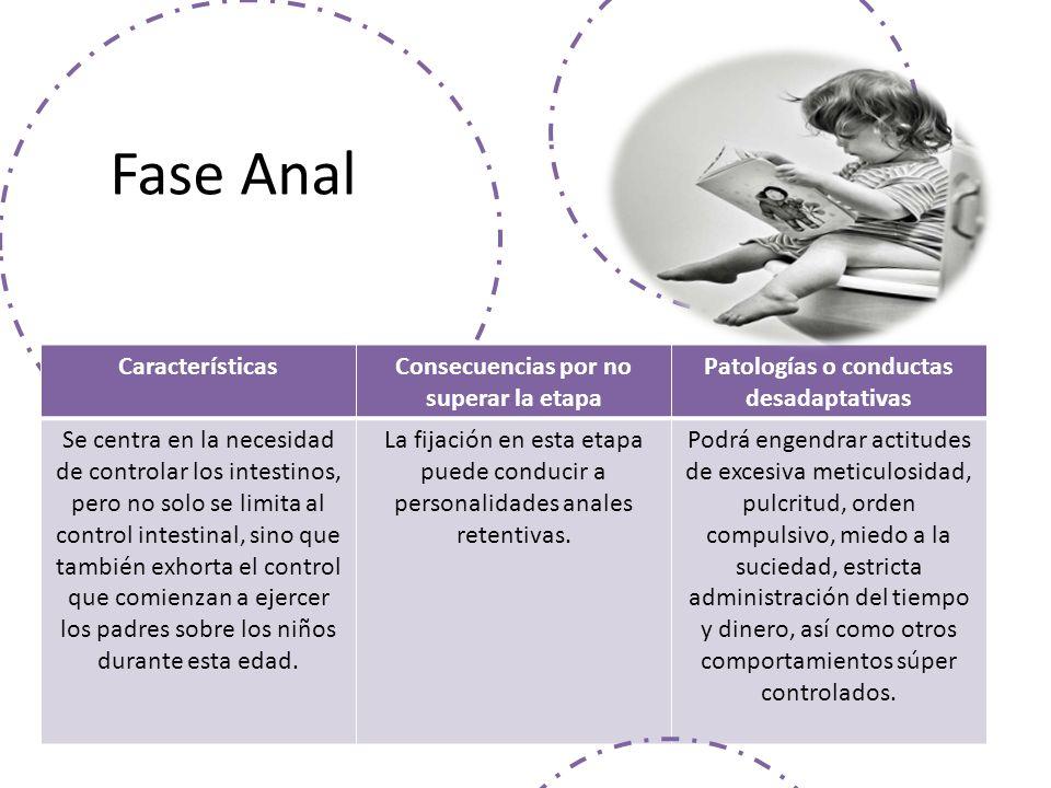 Fase Anal Características Consecuencias por no superar la etapa