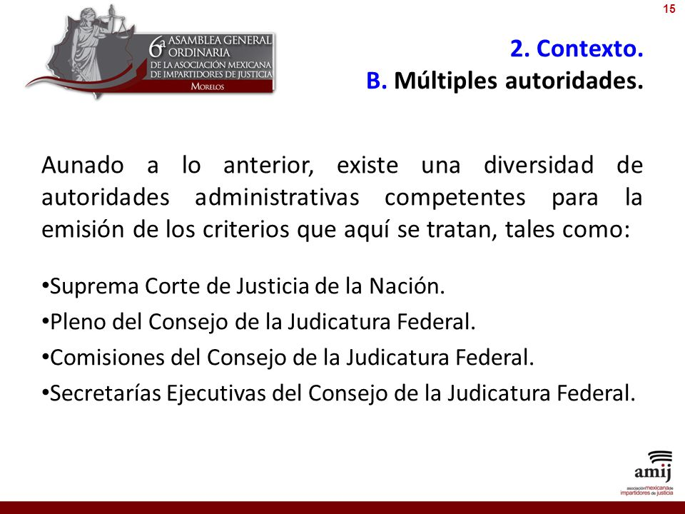 2. Contexto. B. Múltiples autoridades.