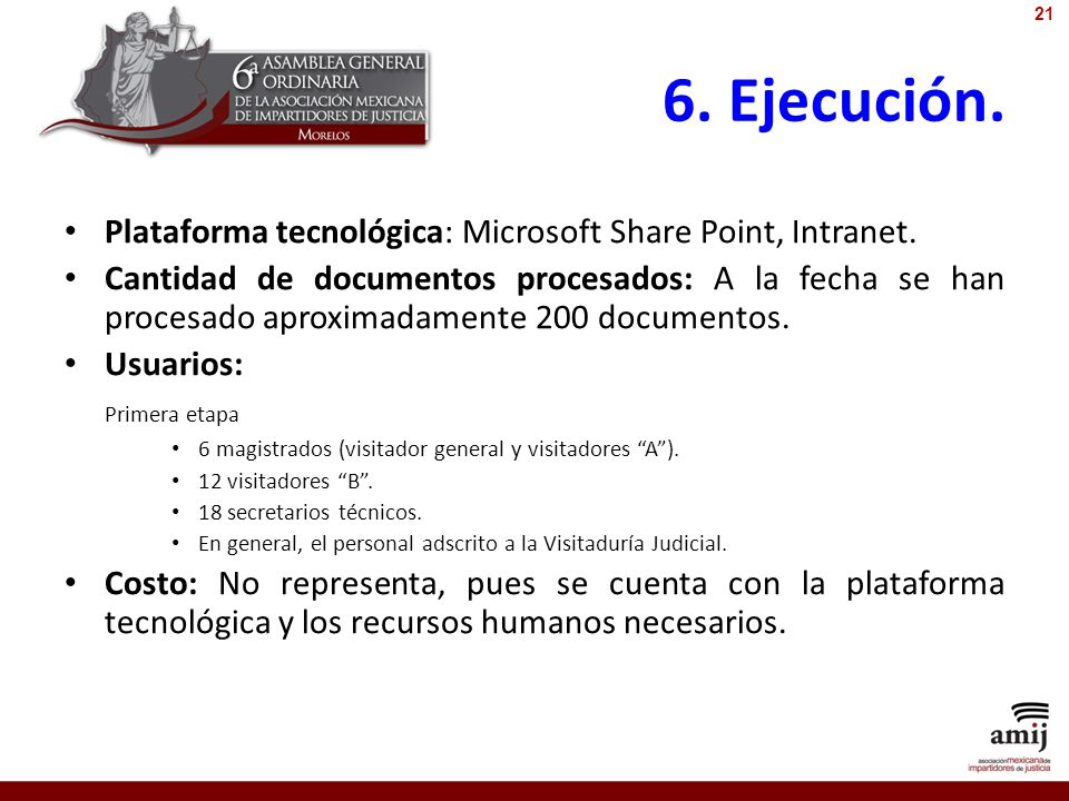 6. Ejecución. Plataforma tecnológica: Microsoft Share Point, Intranet.