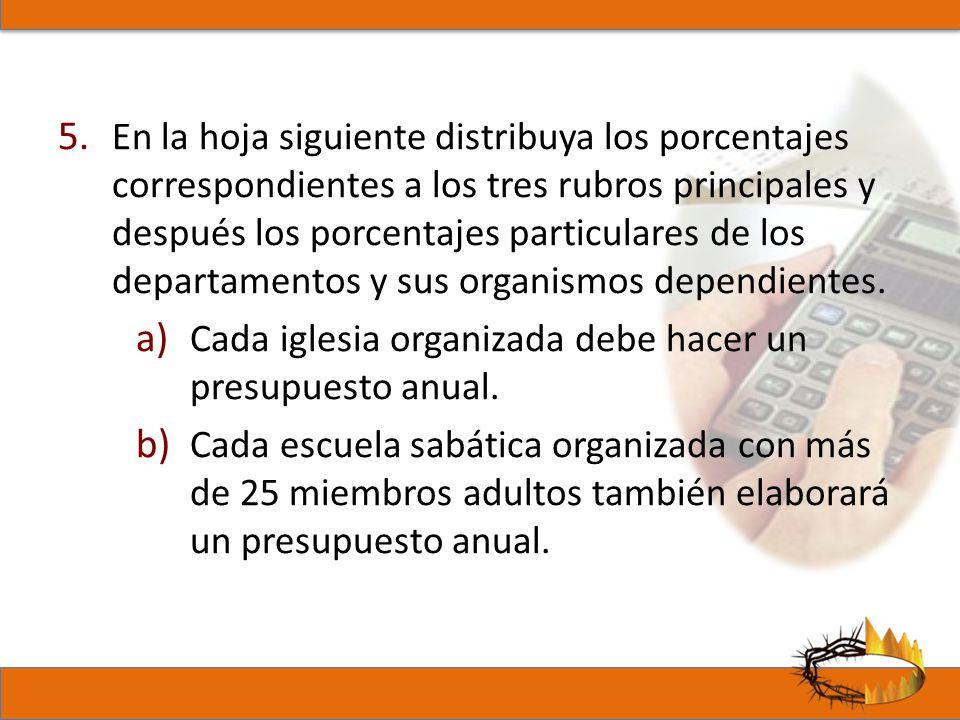 En la hoja siguiente distribuya los porcentajes correspondientes a los tres rubros principales y después los porcentajes particulares de los departamentos y sus organismos dependientes.