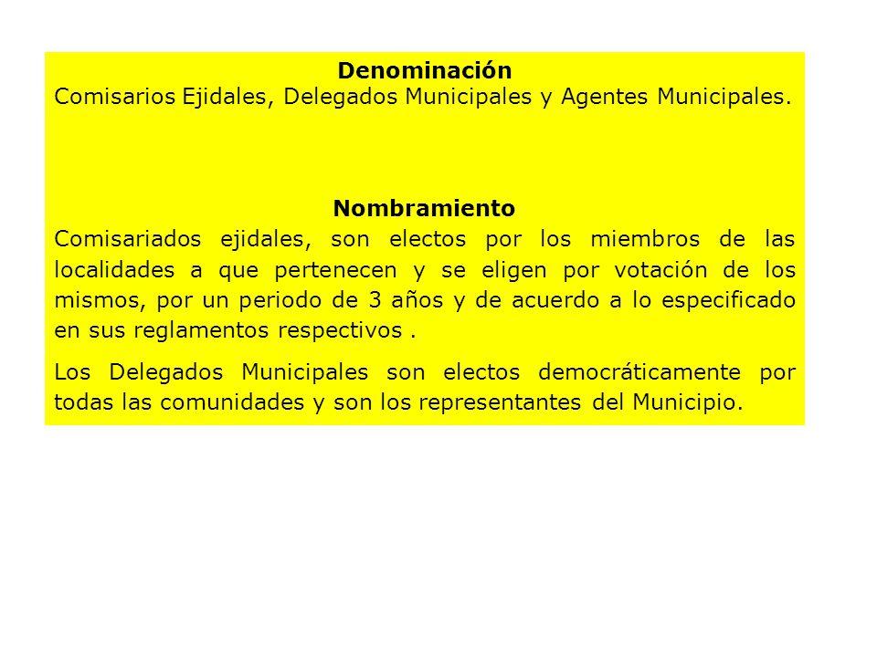 Denominación Comisarios Ejidales, Delegados Municipales y Agentes Municipales.
