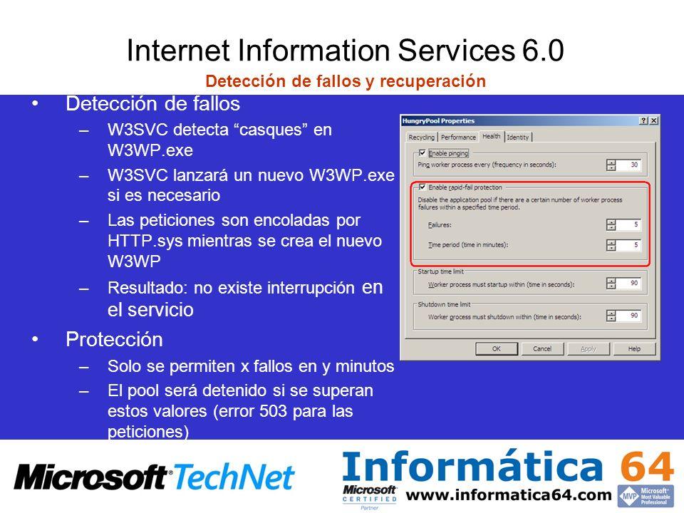 Internet Information Services 6.0 Detección de fallos y recuperación