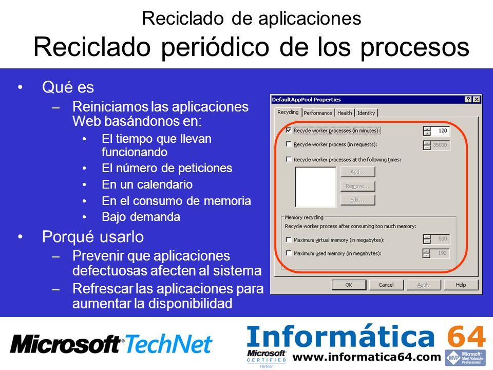 Reciclado de aplicaciones Reciclado periódico de los procesos