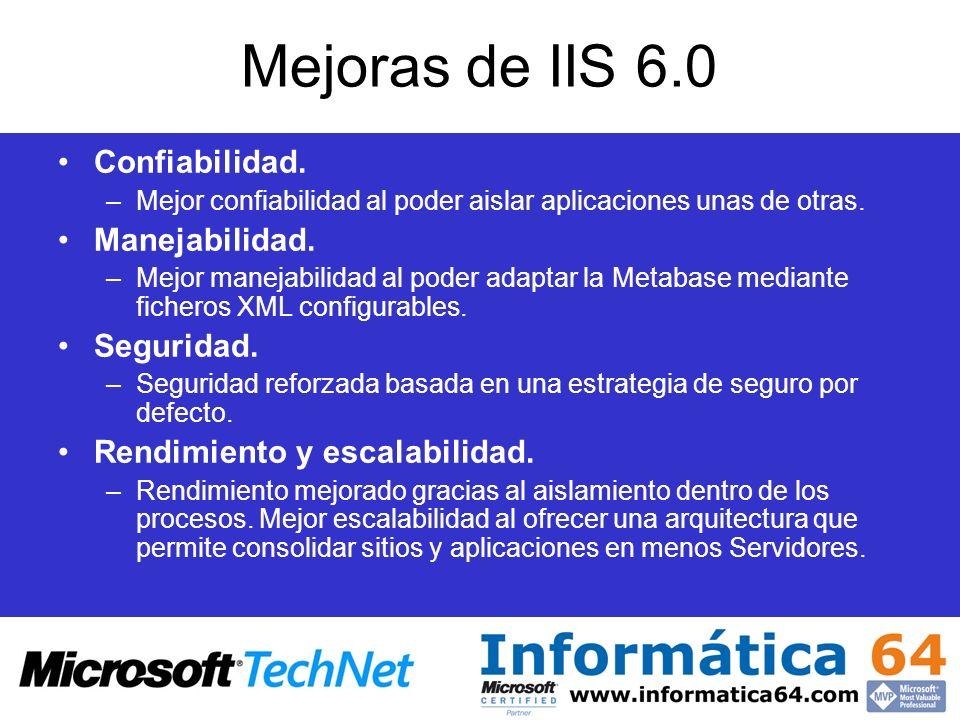Mejoras de IIS 6.0 Confiabilidad. Manejabilidad. Seguridad.