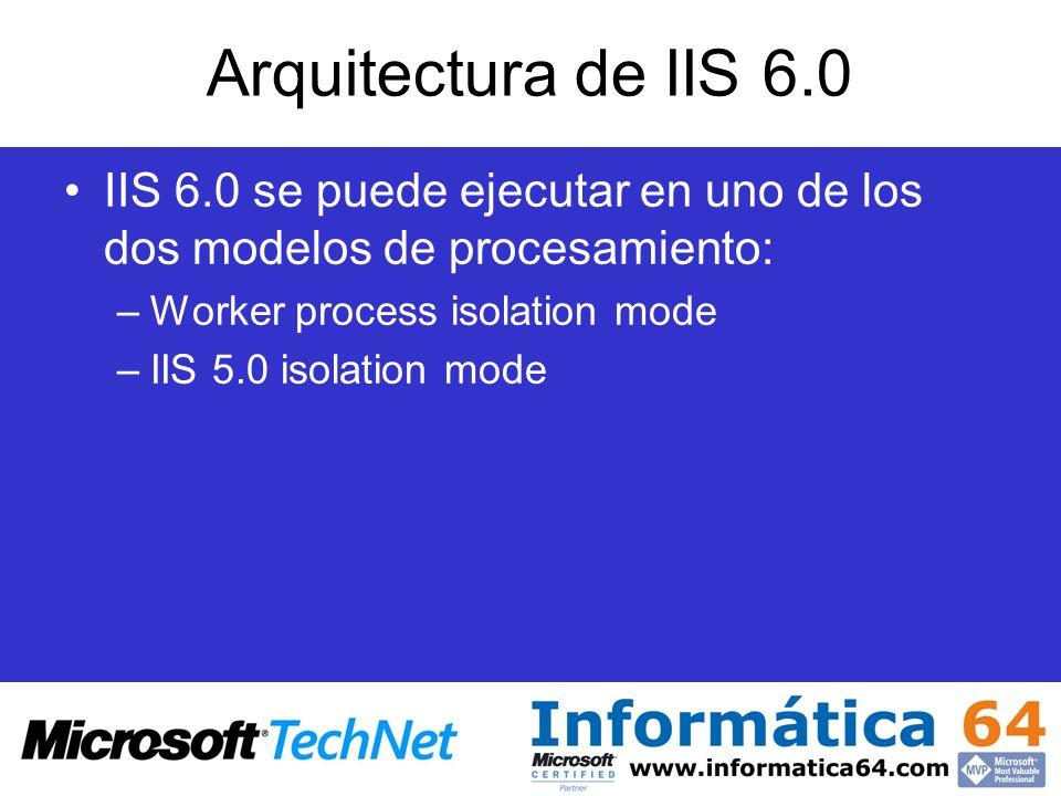 Arquitectura de IIS 6.0 IIS 6.0 se puede ejecutar en uno de los dos modelos de procesamiento: Worker process isolation mode.