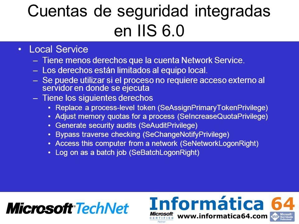 Cuentas de seguridad integradas en IIS 6.0