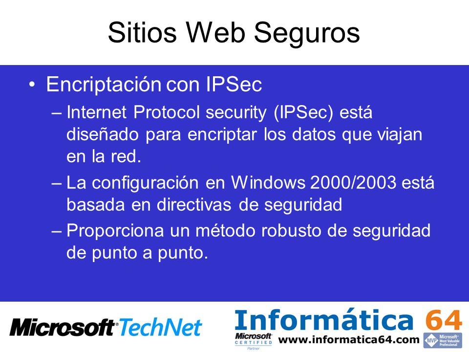 Sitios Web Seguros Encriptación con IPSec
