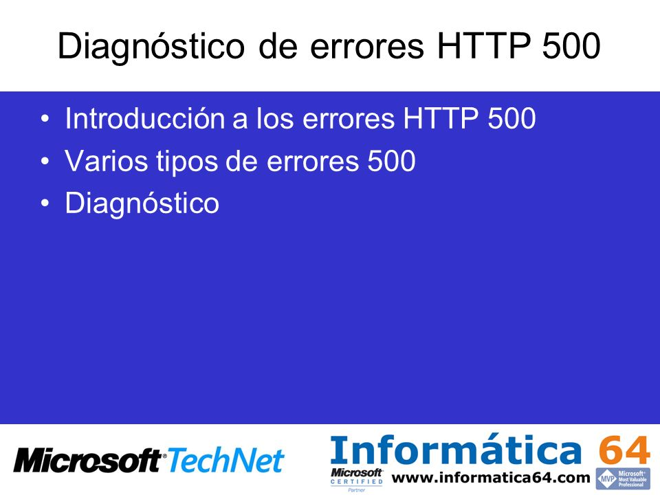 Diagnóstico de errores HTTP 500