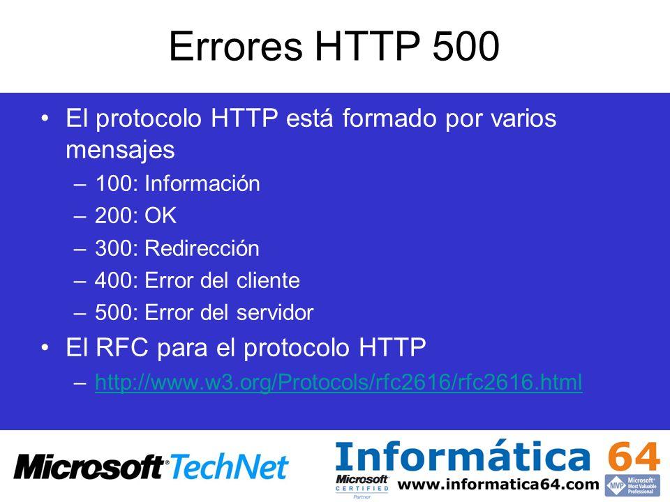 Errores HTTP 500 El protocolo HTTP está formado por varios mensajes