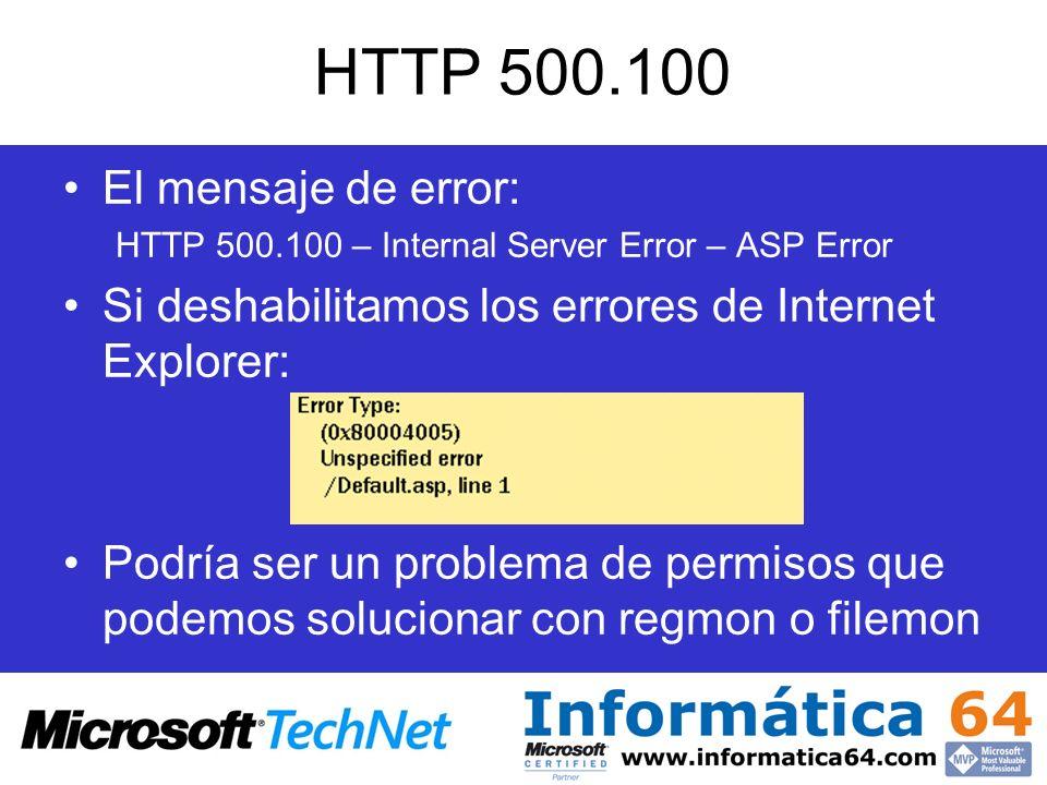HTTP 500.100 El mensaje de error: