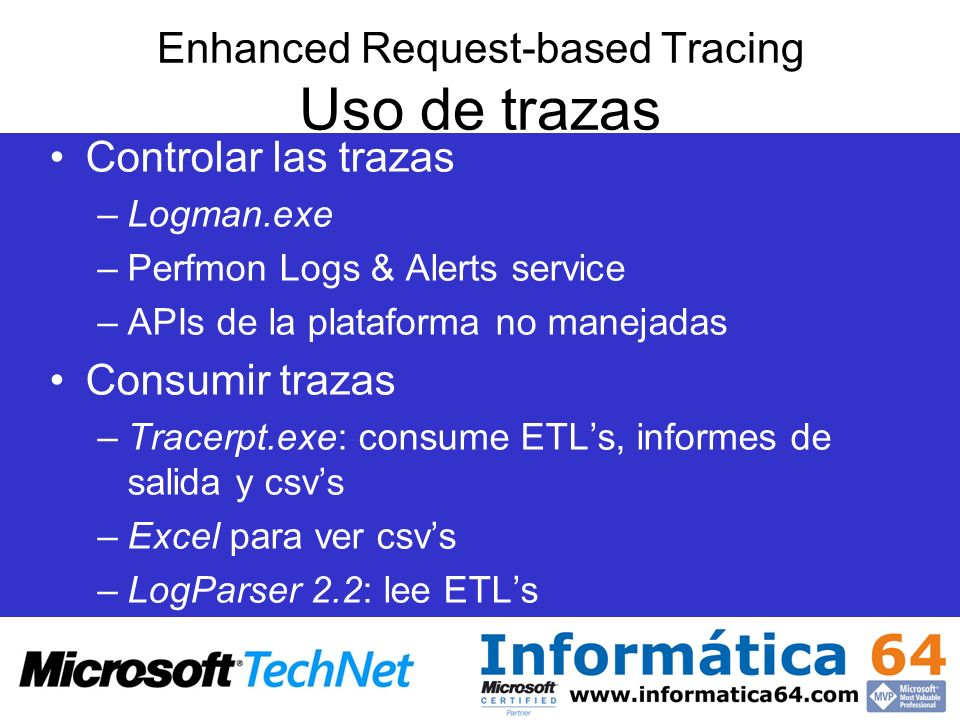 Enhanced Request-based Tracing Uso de trazas
