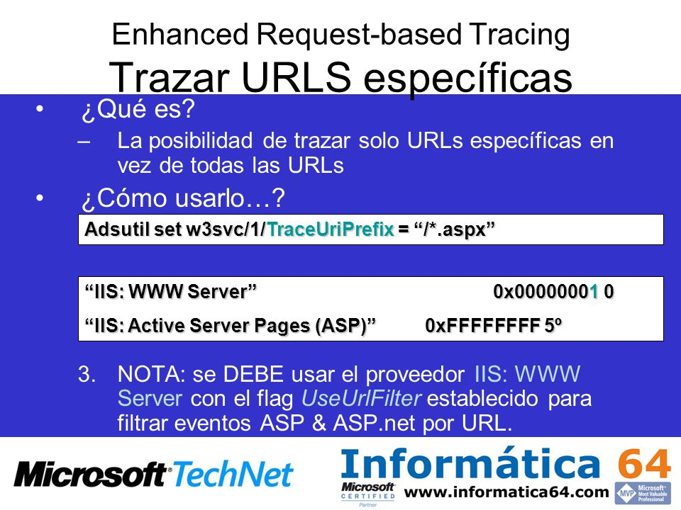 Enhanced Request-based Tracing Trazar URLS específicas