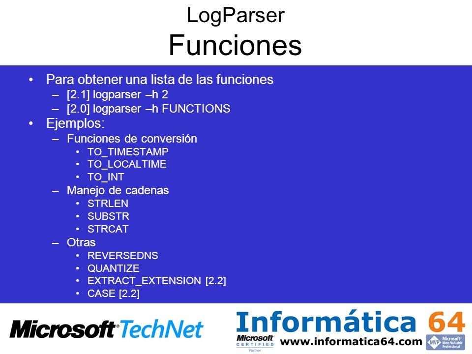 LogParser Funciones Para obtener una lista de las funciones Ejemplos: