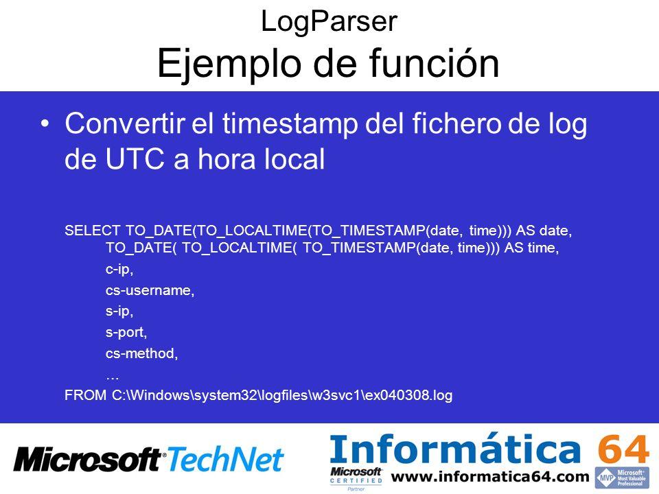 LogParser Ejemplo de función