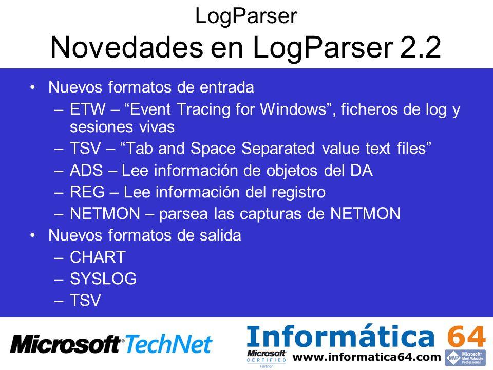 LogParser Novedades en LogParser 2.2