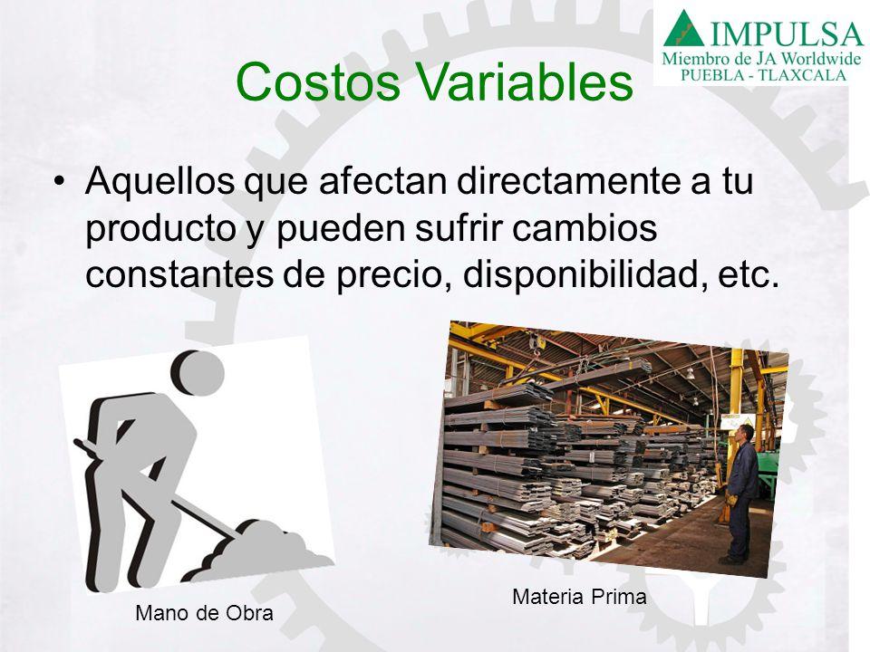 Costos Variables Aquellos que afectan directamente a tu producto y pueden sufrir cambios constantes de precio, disponibilidad, etc.