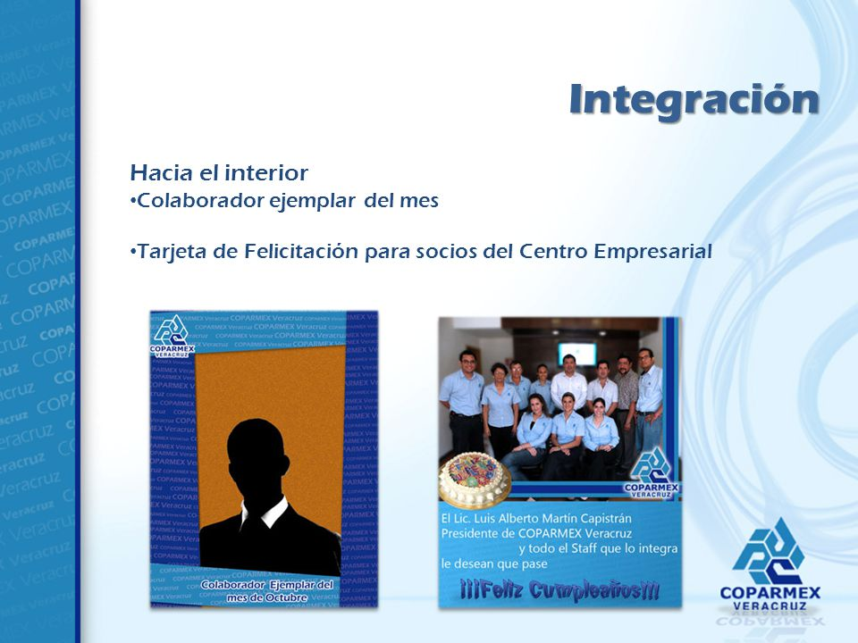 Integración Hacia el interior Colaborador ejemplar del mes