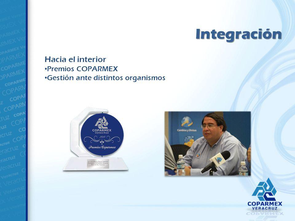 Integración Hacia el interior Premios COPARMEX