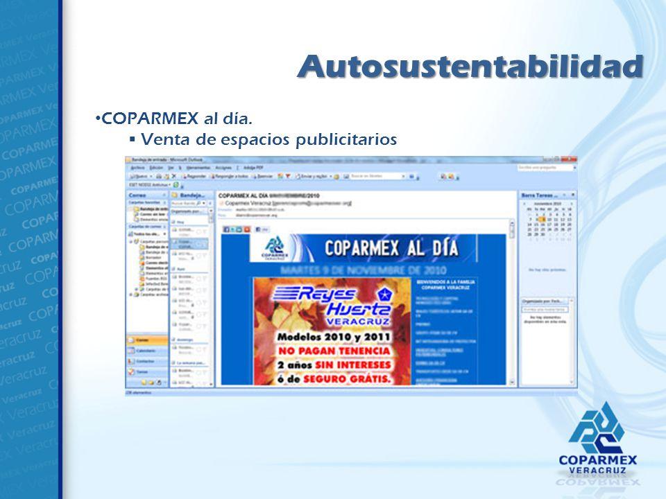 Autosustentabilidad COPARMEX al día. Venta de espacios publicitarios