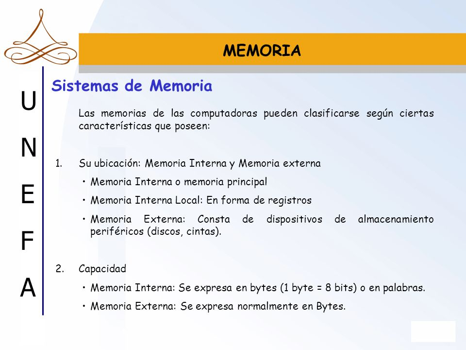 MEMORIA Sistemas de Memoria