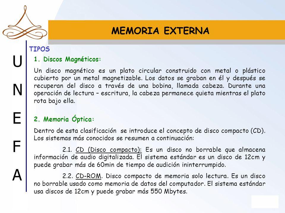 MEMORIA EXTERNA TIPOS 1. Discos Magnéticos: