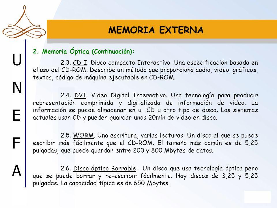 MEMORIA EXTERNA 2. Memoria Óptica (Continuación):