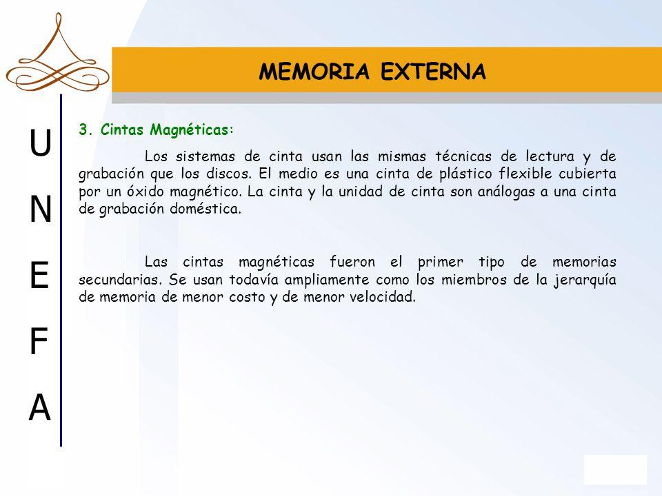 MEMORIA EXTERNA 3. Cintas Magnéticas: