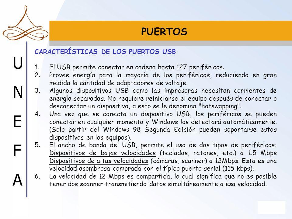 PUERTOS CARACTERÍSTICAS DE LOS PUERTOS USB