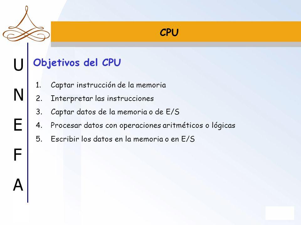 CPU Objetivos del CPU Captar instrucción de la memoria