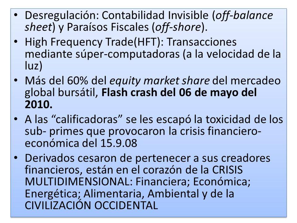 Desregulación: Contabilidad Invisible (off-balance sheet) y Paraísos Fiscales (off-shore).
