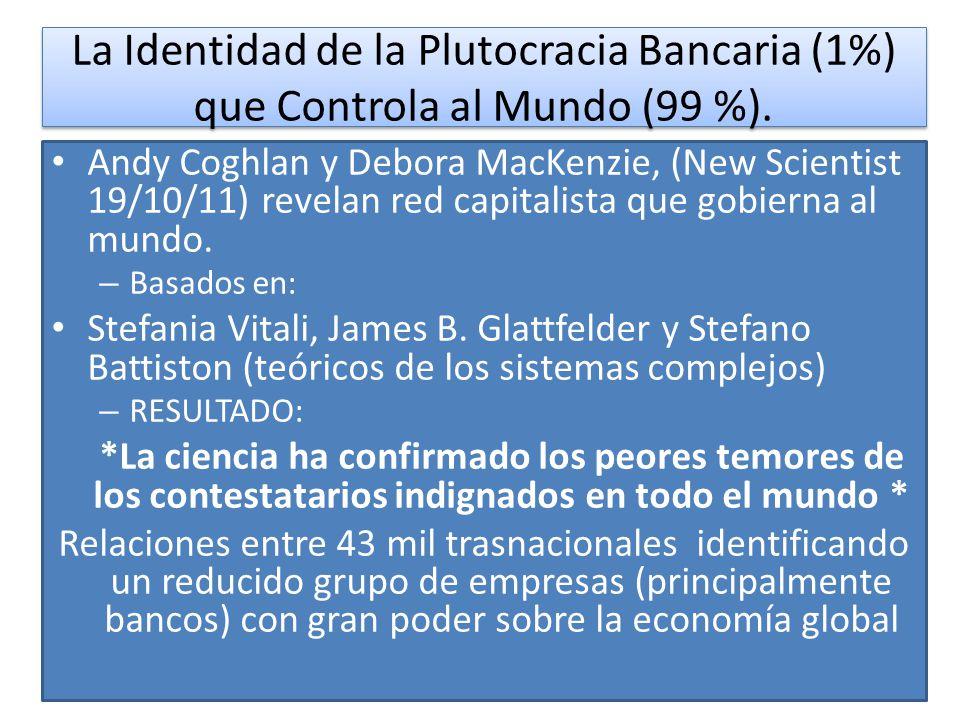 La Identidad de la Plutocracia Bancaria (1%) que Controla al Mundo (99 %).