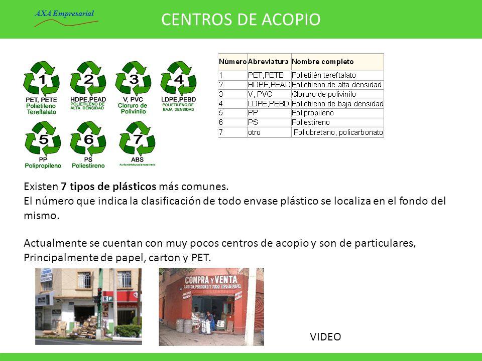 CENTROS DE ACOPIO Existen 7 tipos de plásticos más comunes.
