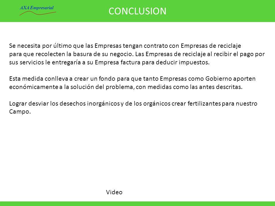 CONCLUSION AXA Empresarial. Se necesita por último que las Empresas tengan contrato con Empresas de reciclaje.