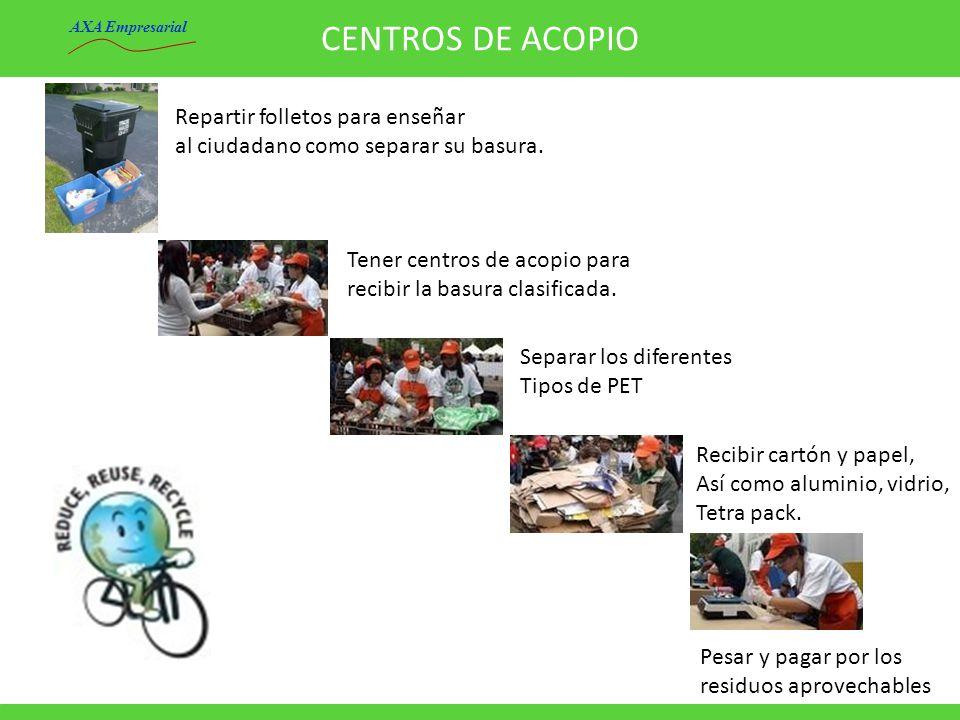 CENTROS DE ACOPIO Repartir folletos para enseñar