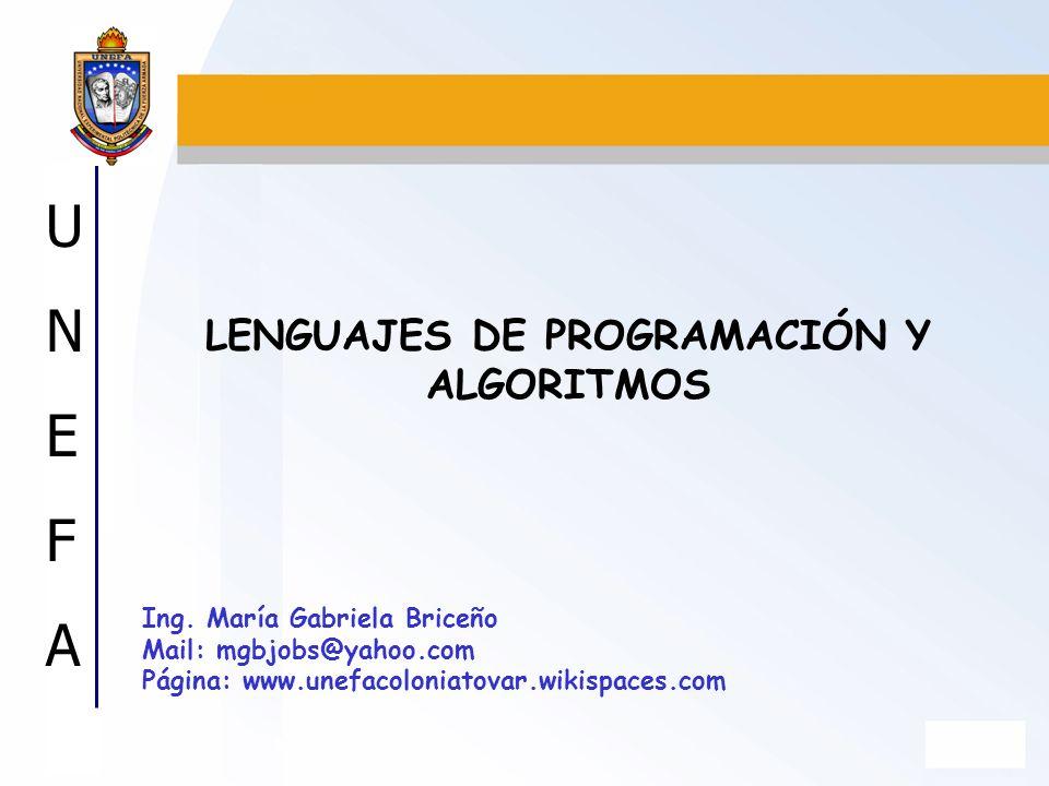 LENGUAJES DE PROGRAMACIÓN Y ALGORITMOS