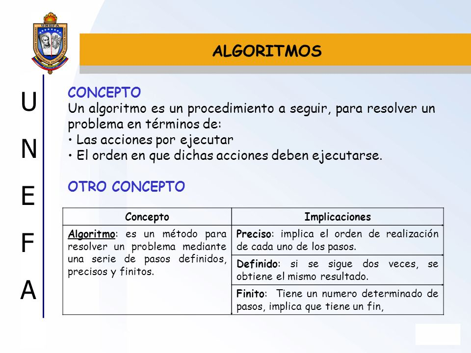 ALGORITMOSCONCEPTO. Un algoritmo es un procedimiento a seguir, para resolver un problema en términos de: