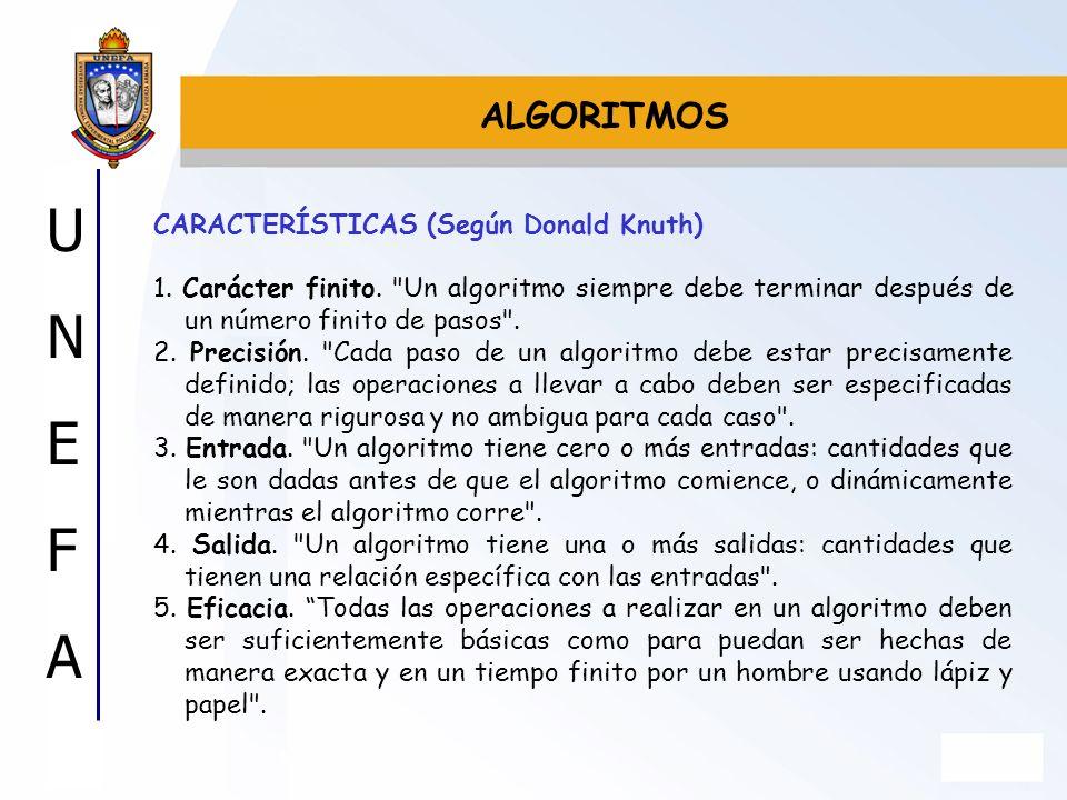 ALGORITMOS CARACTERÍSTICAS (Según Donald Knuth)
