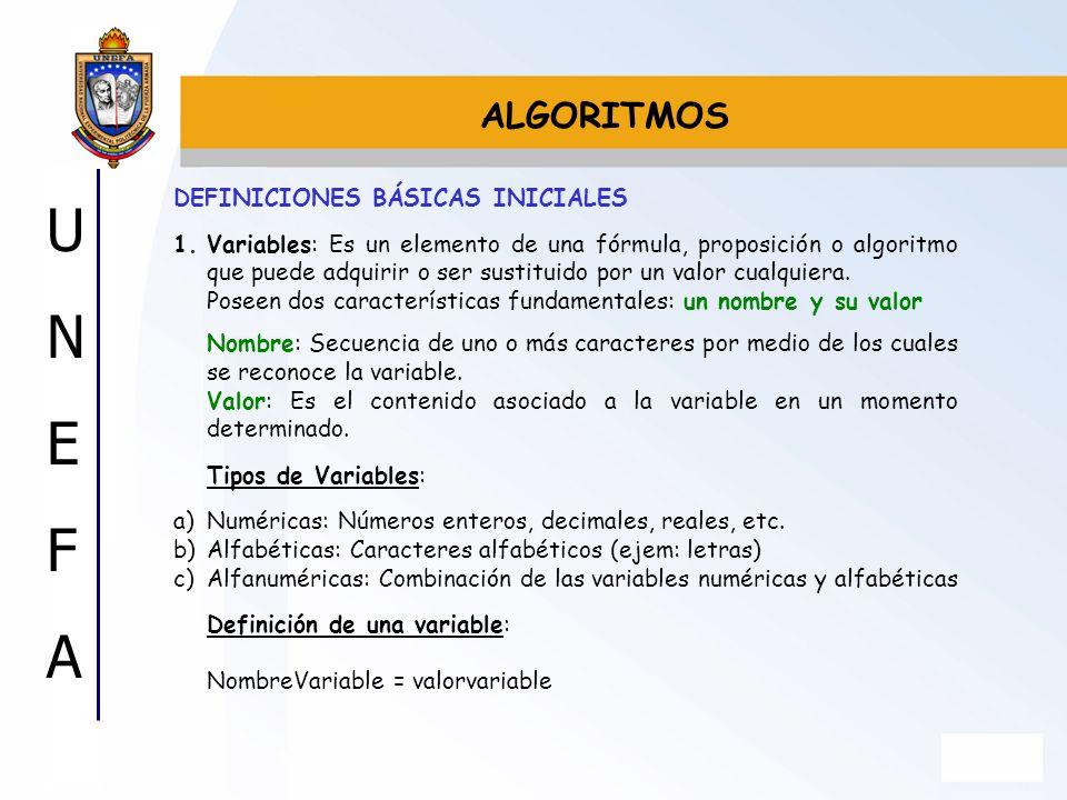 ALGORITMOS DEFINICIONES BÁSICAS INICIALES