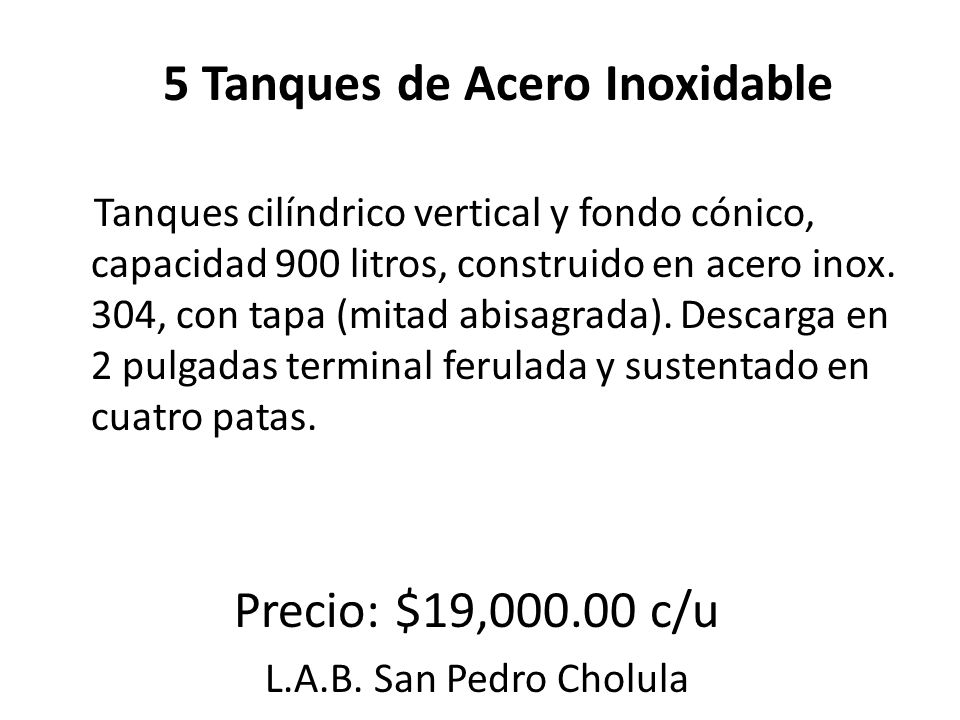 5 Tanques de Acero Inoxidable